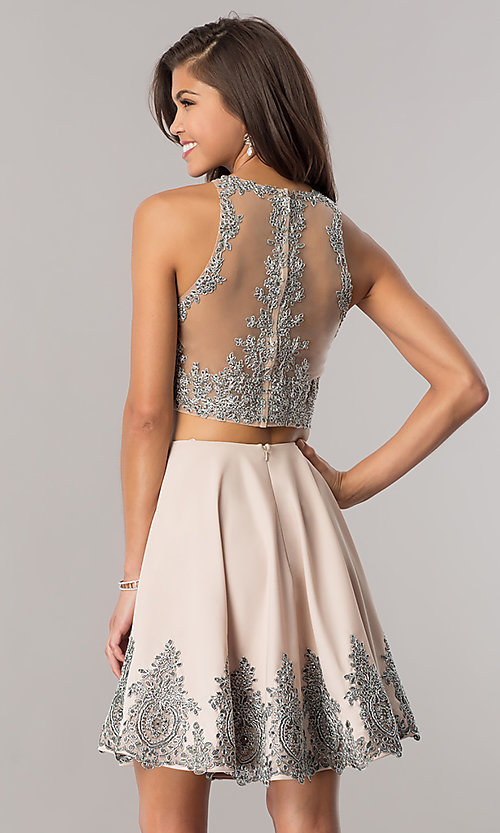 Image of two-piece Dave and Johnny short taupe prom dress. Style: DJ-A5476t Back Image