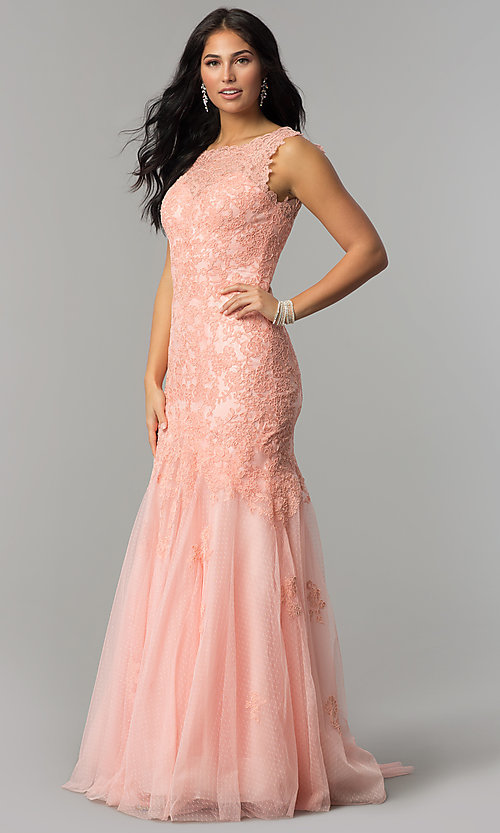 Image of long lace Dave and Johnny mermaid prom dress. Style: DJ-1937t Detail Image 2