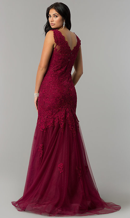 Image of long lace Dave and Johnny mermaid prom dress. Style: DJ-1937t Back Image