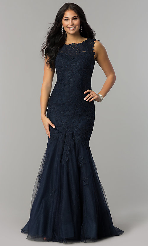 Image of long lace Dave and Johnny mermaid prom dress. Style: DJ-1937t Detail Image 3