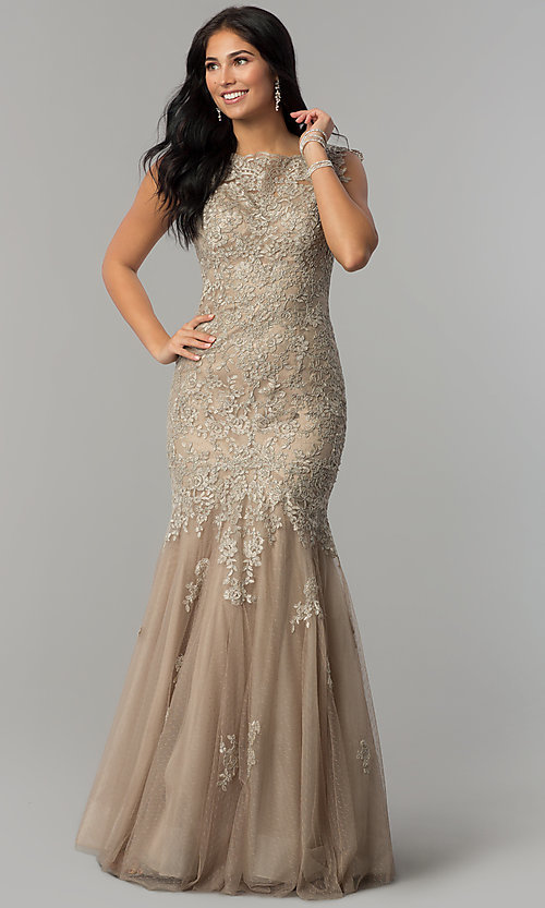 Image of long lace Dave and Johnny mermaid prom dress. Style: DJ-1937t Front Image