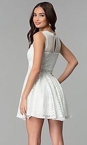 Image of short lace a-line graduation party dress. Style: CL-46225 Back Image