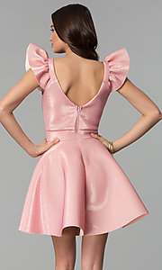 Image of short party dress with ruffled cap sleeves. Style: CL-D45580 Back Image