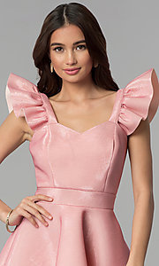 Image of short party dress with ruffled cap sleeves. Style: CL-D45580 Detail Image 1