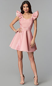 Image of short party dress with ruffled cap sleeves. Style: CL-D45580 Detail Image 3