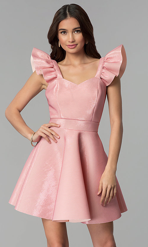 Image of short party dress with ruffled cap sleeves. Style: CL-D45580 Front Image