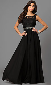 Image of long chiffon sleeveless prom dress with lace bodice. Style: DQ-9325m Detail Image 1