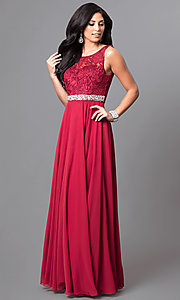 Image of long chiffon sleeveless prom dress with lace bodice. Style: DQ-9325m Detail Image 2