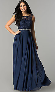 Image of long chiffon sleeveless prom dress with lace bodice. Style: DQ-9325m Detail Image 3