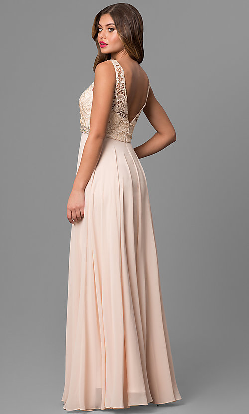 Image of long chiffon sleeveless prom dress with lace bodice. Style: DQ-9325m Back Image