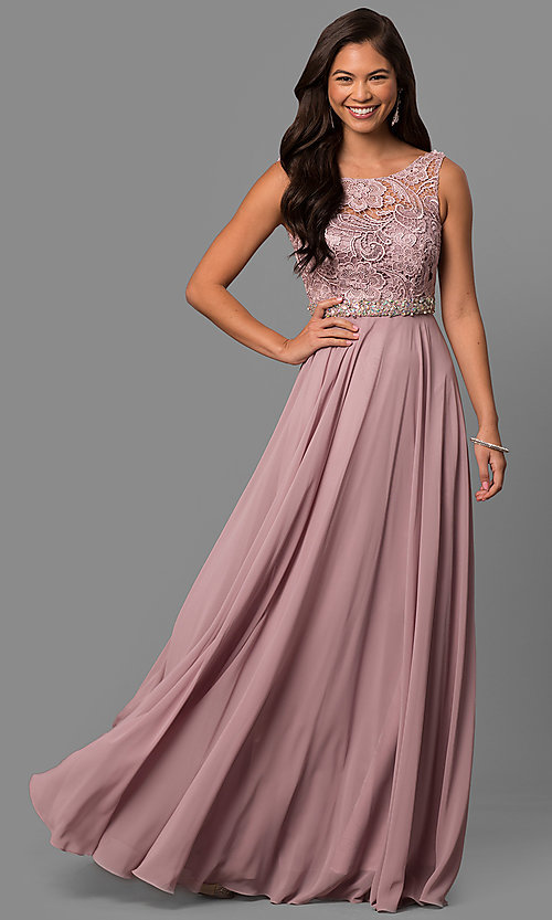 Image of long chiffon sleeveless prom dress with lace bodice. Style: DQ-9325m Front Image