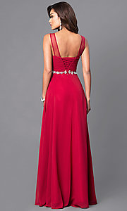 Image of sleeveless long mocha ruched-bodice prom dress. Style: DQ-9541m Back Image