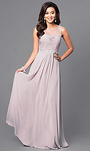 Image of sleeveless long mocha ruched-bodice prom dress. Style: DQ-9541m Front Image