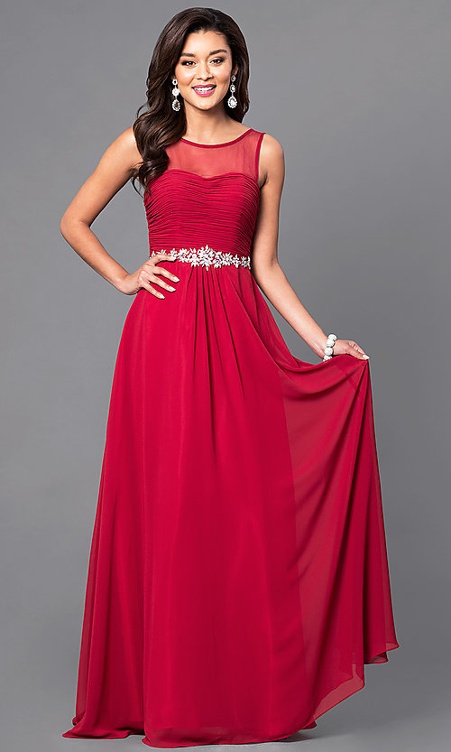 Image of sleeveless long mocha ruched-bodice prom dress. Style: DQ-9541m Detail Image 1