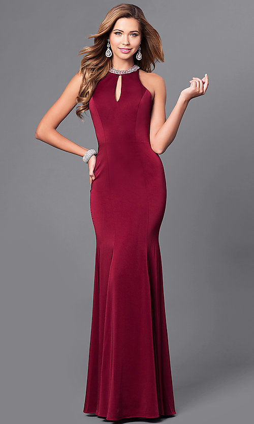 Image of high-neck long sleeveless prom dress in mocha. Style: DQ-9708m Detail Image 1