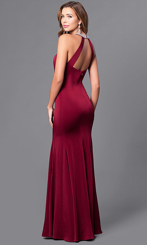 Image of high-neck long sleeveless prom dress in mocha. Style: DQ-9708m Back Image
