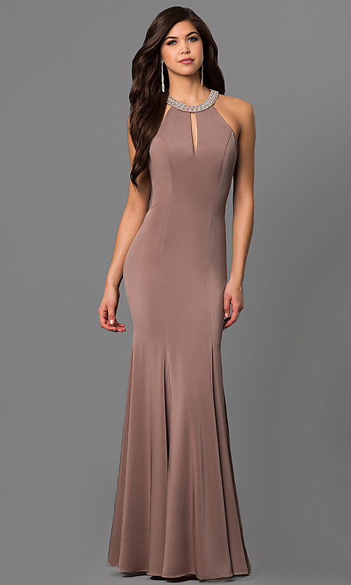 Image of high-neck long sleeveless prom dress in mocha. Style: DQ-9708m Front Image