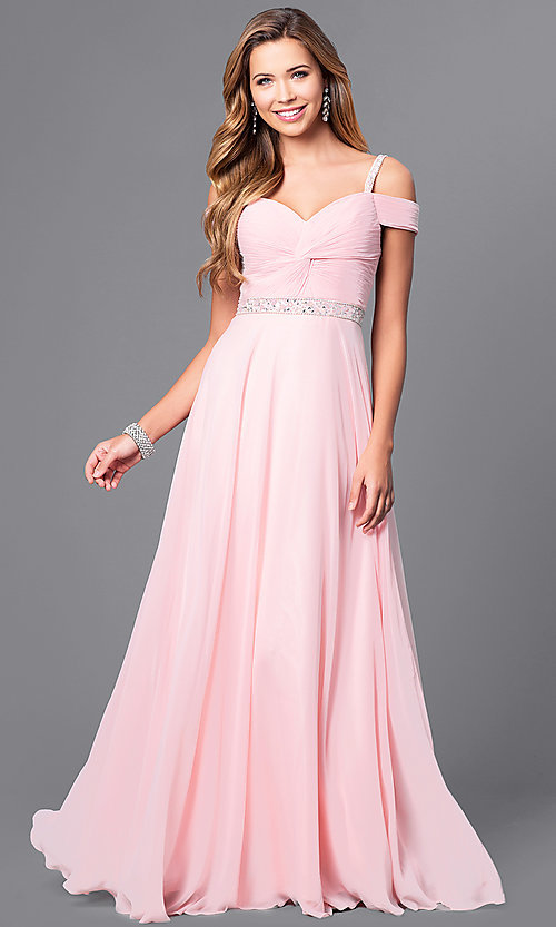 Long Cold-Shoulder Corset-Back Prom Dress - PromGirl