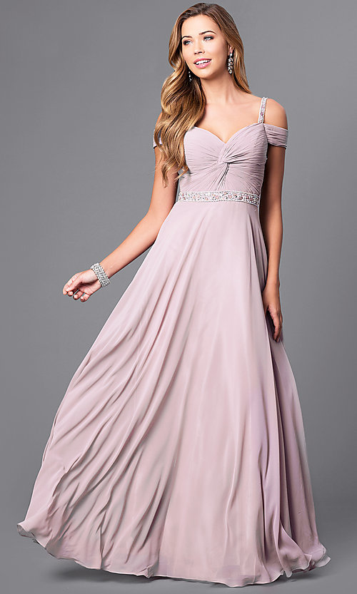 Image of corset-back long cold-shoulder mocha prom dress. Style: DQ-9718m Front Image