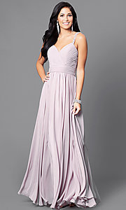 Image of long mocha pink v-neck prom dress with corset. Style: DQ-9471m Front Image