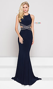 High Scoop-Neck Open-Back Prom Dress with Beading
