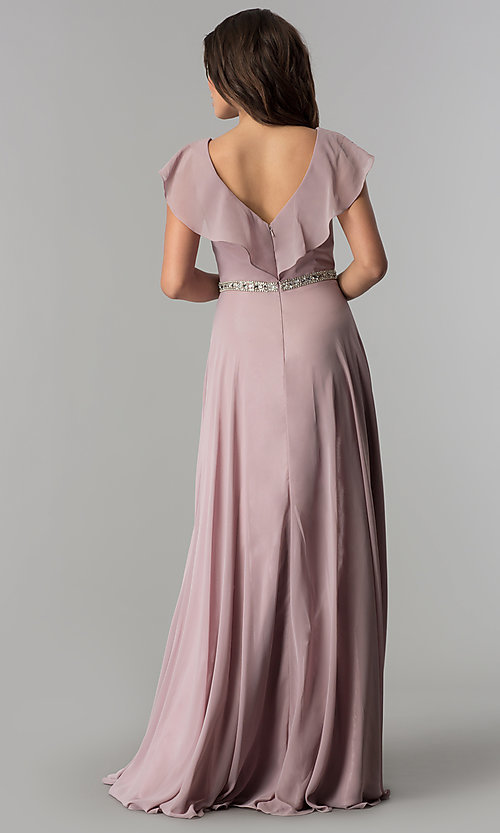 Image of long v-neck mocha pink chiffon prom dress. Style: DQ-2072m Back Image