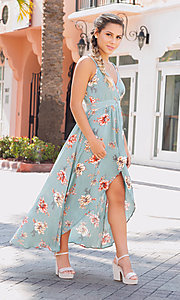 Image of faux-wrap high-low floral-print casual party dress. Style: BLU-IBD8889 Front Image
