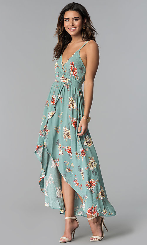 Image of faux-wrap high-low floral-print casual party dress. Style: BLU-IBD8889 Detail Image 1