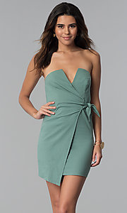 Image of seapine green faux-wrap short strapless party dress. Style: BLU-IBD8885 Detail Image 1