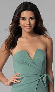 Image of seapine green faux-wrap short strapless party dress. Style: BLU-IBD8885 Detail Image 2