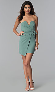 Image of seapine green faux-wrap short strapless party dress. Style: BLU-IBD8885 Detail Image 3