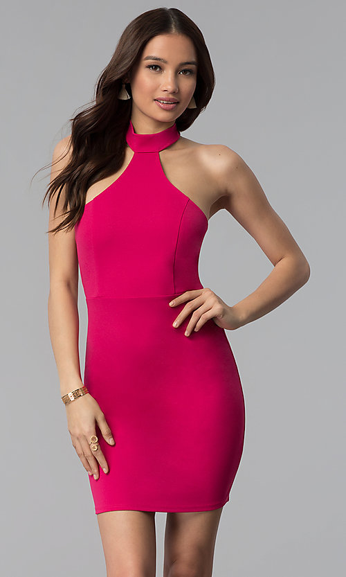 Image of high-neck short halter party dress. Style: BLU-BD9005 Detail Image 3