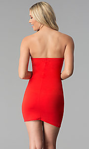 Image of short bodycon strapless tulip-skirt red party dress. Style: BLU-BD8988 Back Image