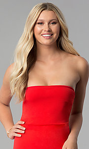 Image of short bodycon strapless tulip-skirt red party dress. Style: BLU-BD8988 Detail Image 1
