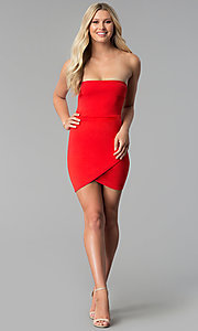 Image of short bodycon strapless tulip-skirt red party dress. Style: BLU-BD8988 Detail Image 2