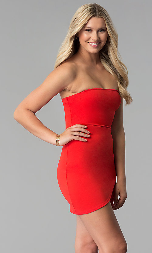 Image of short bodycon strapless tulip-skirt red party dress. Style: BLU-BD8988 Detail Image 3