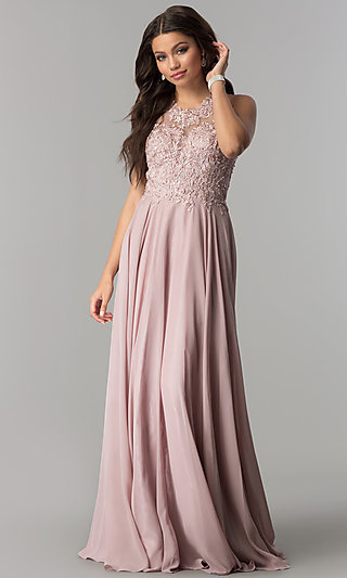 Long Chiffon High-Neck Prom Dress with Lace Applique