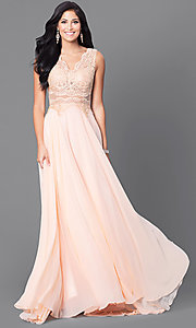 Image of embroidered-bodice mocha prom dress with sheer waist. Style: DQ-9429m Detail Image 3