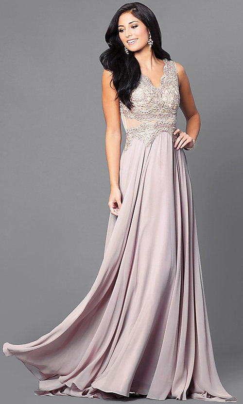 Image of embroidered-bodice mocha prom dress with sheer waist. Style: DQ-9429m Front Image