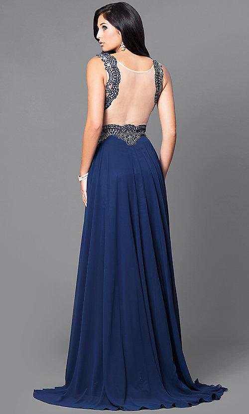 Image of embroidered-bodice mocha prom dress with sheer waist. Style: DQ-9429m Back Image