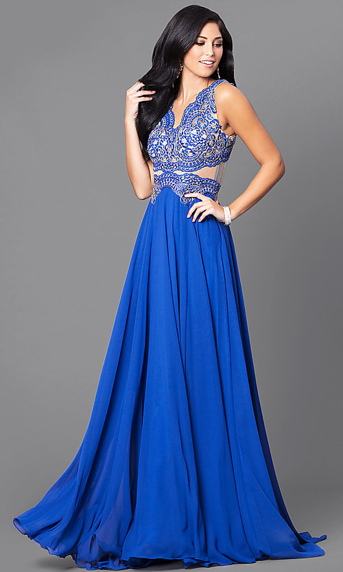 Image of embroidered-bodice mocha prom dress with sheer waist. Style: DQ-9429m Detail Image 2