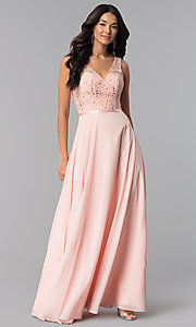 Image of v-neck long mocha prom dress with lace bodice. Style: DQ-2267m Detail Image 2