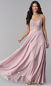 Image of v-neck long mocha prom dress with lace bodice. Style: DQ-2267m Front Image