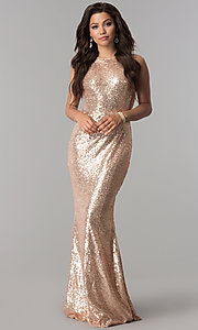 Image of rose gold sleeveless long sequin prom dress. Style: LP-24796r Front Image