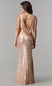 Image of rose gold sleeveless long sequin prom dress. Style: LP-24796r Back Image