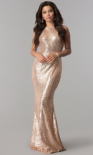 Rose Gold Sleeveless Long Sequin Prom Dress