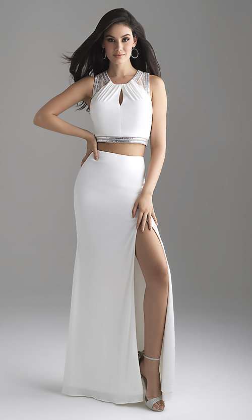 Image of Madison James two-piece long formal prom dress. Style: NM-18-675 Detail Image 1