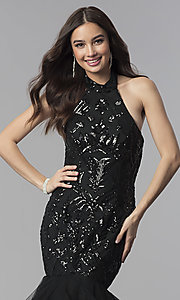 Image of long mermaid halter prom dress with sequins. Style: KC-18034 Detail Image 1