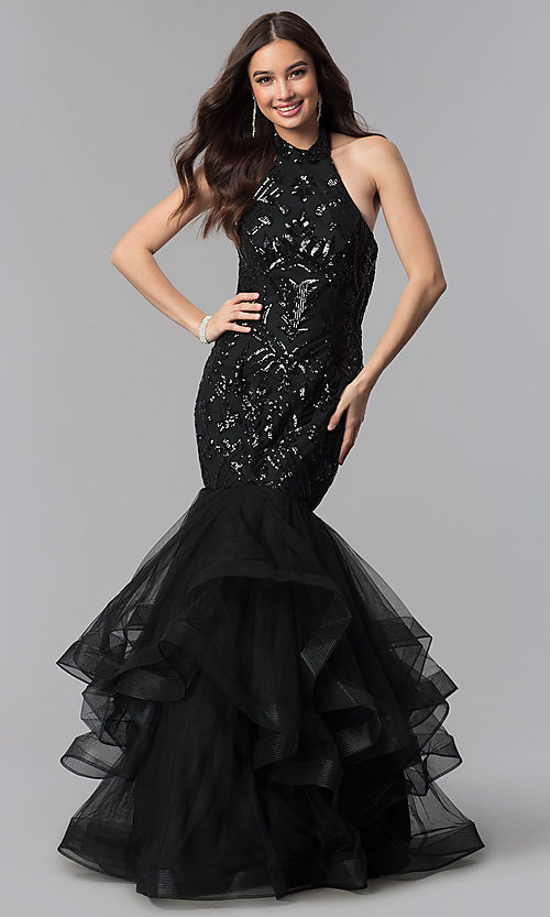 Image of long mermaid halter prom dress with sequins. Style: KC-18034 Front Image