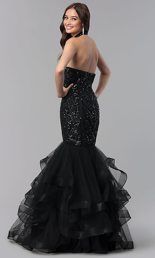Image of long mermaid halter prom dress with sequins. Style: KC-18034 Back Image